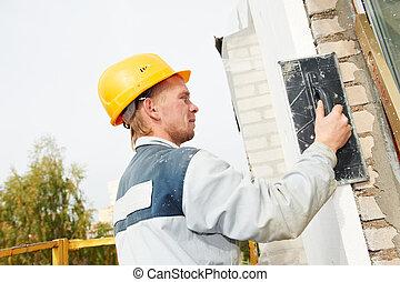 byggmästare, fasad, gipsarbetare, arbetare