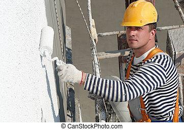 byggmästare, fasad, målare, på arbete