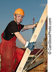 byggmästare, hos, konstruktion sajt