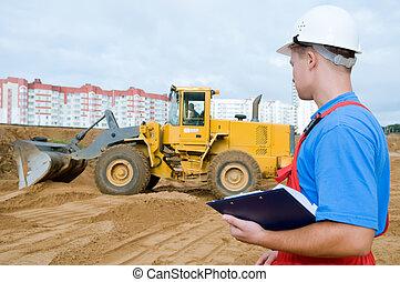 byggmästare, inspektör, hos, konstruktion, område