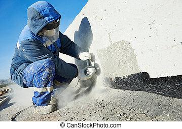 byggmästare, klippande, oxeltand, arbete