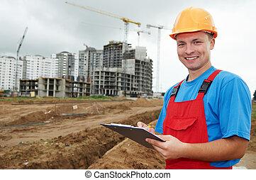 byggmästare, konstruktion, le, inspektör, område