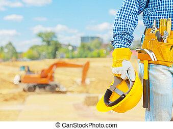 byggmästare, konstruktion, plats