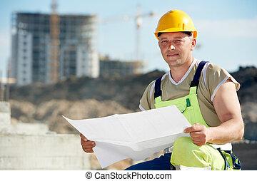 byggmästare, konstruktion, utkast, plats, ingenjör