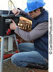 byggmästare, med, a, generator