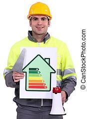 byggmästare, med, en, energi, effektiv, underteckna