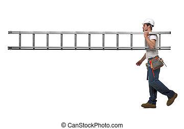 byggmästare, med, stege