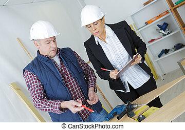 byggmästare, plats, konstruktion, arkitekt, kvinnlig, stående
