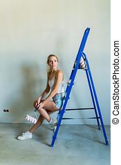 byggmästare, plats, ung, måla, konstruktion, flicka, roller