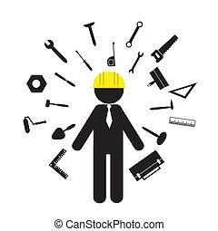 byggmästare, redskapen