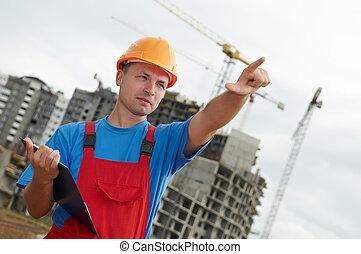 byggmästare, skrivplatta, arbetare