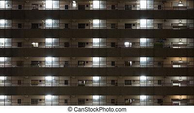 byggnad, bakgrund, Natt