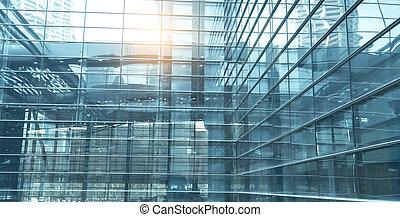 byggnad, blå, kontor, vägg, samtidig, specificera, glas