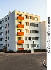 byggnad, blå, lägenhet, sky