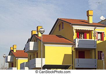 byggnad, bostads