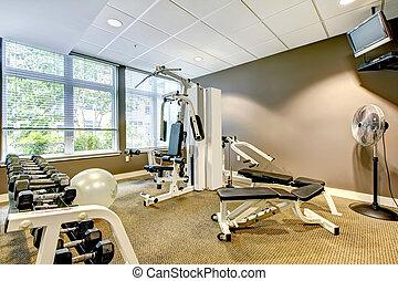 byggnad, brun, lägenhet, vägg, gymnastiksal, tv.