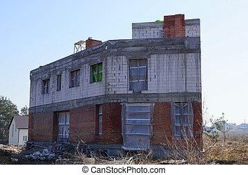 byggnad, brun, oavslutat, fönstren, hus, plats, vita tegelsten, tom