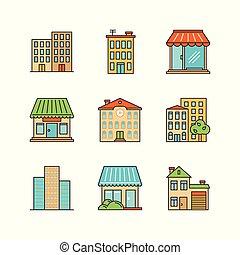 byggnad, butik, skola, iconset., vektor, townhouse., skyscrapper, lineart, lager, minimal