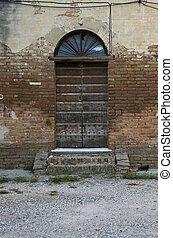 byggnad, dörr, gammal, övergiven