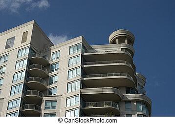 byggnad, enastående, turret., nymodig, andelslägenhet