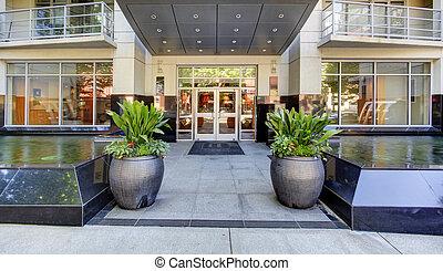 byggnad, entrance., lägenhet, nymodig, exterior.