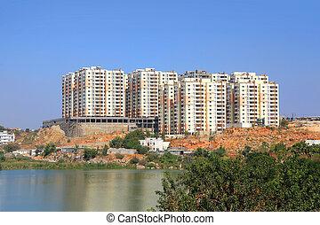 byggnad, färsk, lägenhet, konstruktion