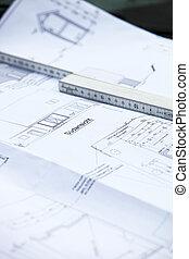 byggnad, färsk,  plan, Hem