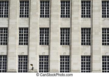byggnad, fönstren, fasad, mönster