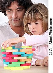 byggnad, fader, torn spärrar, dotter