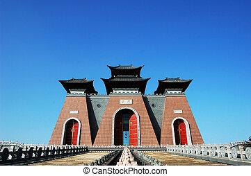 byggnad, forntida, kinesisk, traditionell, porslin, grind