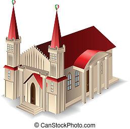 byggnad, gammal kyrka