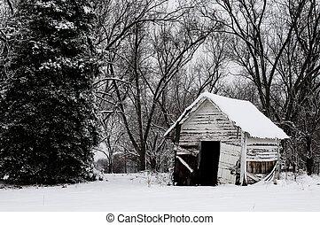 byggnad, gammal, snö
