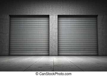 byggnad, garage, gjord, konkret