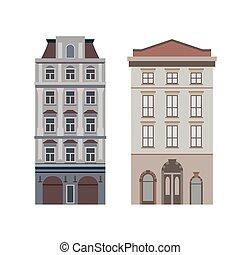 byggnad, gata, vacker, stad, mall, facades., nät, grafisk, vektor, stadsbild, design., liten, lek, viktorian, rörelse, detaljerad, illustration, linjär, kollektion, townhouses.