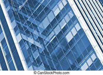 byggnad, glas, kontor, vägg