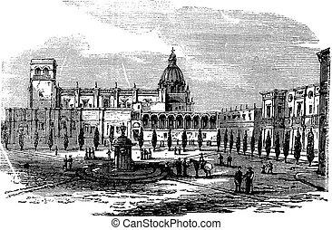 byggnad, gravyr, mexico, årgång, guadalajara, historisk,...