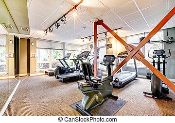 byggnad, gymnastiksal, lägenhet, spegel.
