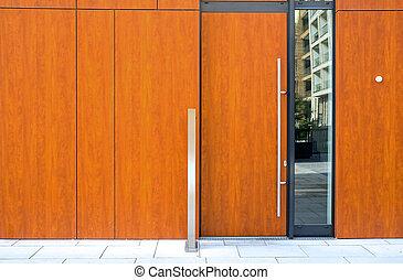 byggnad, hänrycka, nymodig, dörr