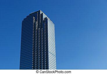 byggnad, hög, avbild, stiga, singel