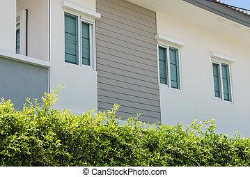 byggnad, Hem, fönster, färsk