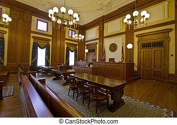 byggnad, historisk, rättssal