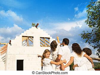 byggnad, hus, familj, färsk
