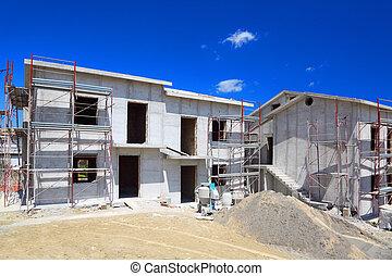 byggnad, hus, konkret, färsk, vit, two-story, trappa, ...