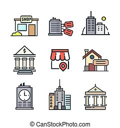 byggnad, ikon, sätta, färg
