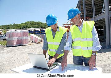 byggnad, industriell sajt, arbetande folken
