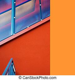 byggnad, innehållande, bakgrund, nymodig, specificera, planlagt, yttre