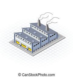 byggnad, isometric, fabrik