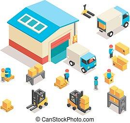 byggnad, isometric, sätta, elektrisk, ikonen, lastbilar, fabrik, dragkärror, vektor, lager, fördelning, goods., 3