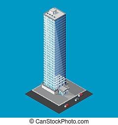 byggnad, isometric, vektor, skyskrapa, illustration