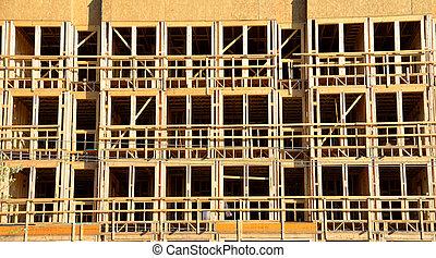 byggnad, konstruktion, plats